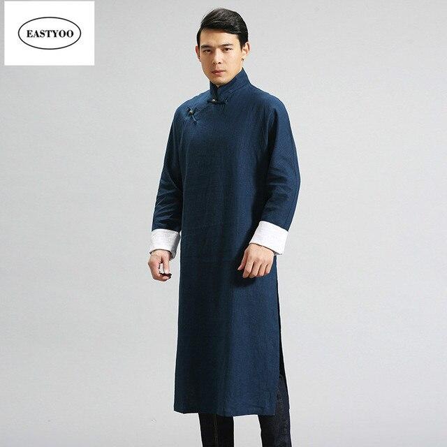 Cinese Tradizionale Abito Da Uomo Collo alla coreana Lunghe Vesti Più Il  Formato Abbigliamento Tradizionale Cinese ... 722806d9eaa
