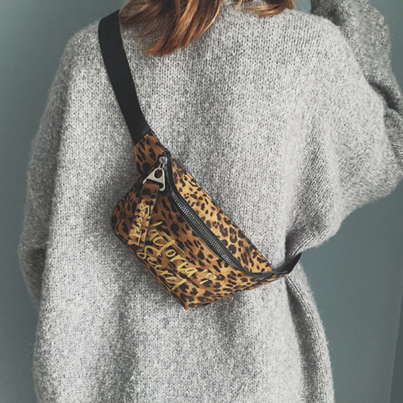 2018 New Fashion Bag Korean Version Of The Leopard Pattern Small Satchel Wide Shoulder Belt Take A Lot Of Money Winter Style HOT
