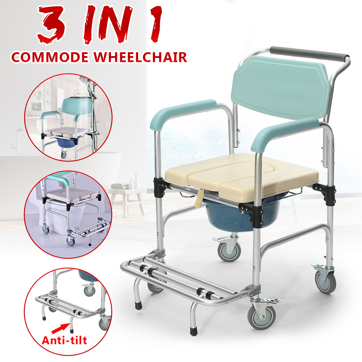 3 In1 Commode Wheelchair Toilet Shower Seat Potty Bathroom Rolling Chair Soft Aluminum Alloy Waterproof Soft Cushion Durable