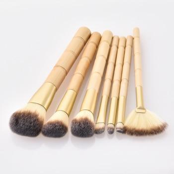 BBL 7pcs Bamboo Makeup Brushes Set Portable Face Powder Highlighter Blush Concealer Tapered Blending Eyeshadow Eyebrow Brush Kit 3
