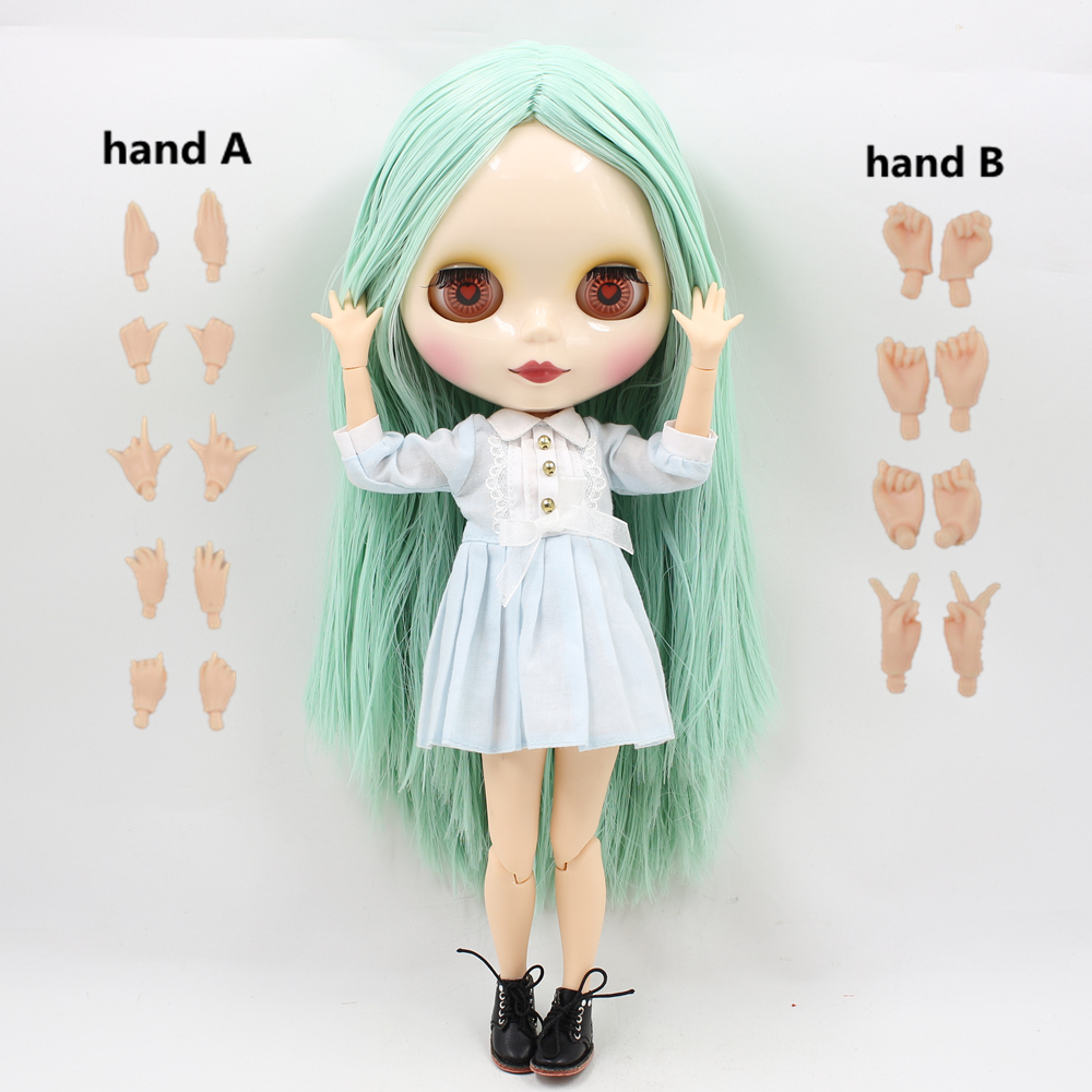 Free shipping Nude Factory Blyth Doll Series No 230BL1319 Mint straight hair white skin JOINT body