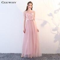 CEEWHY Half Sleeve Bridesmaid Dresses Tulle Prom Formal Dress Women Elegant  Wedding Party Dress Graduation Dress 8ff660d34683