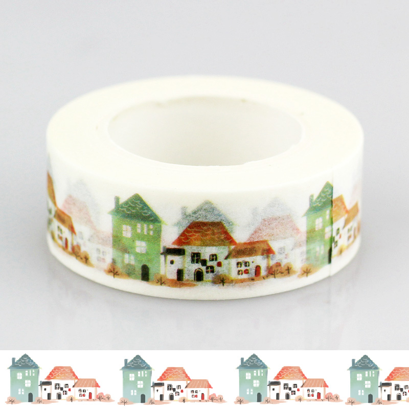 10m Creative Country House Japanese Masking Washi Tape Building Decorative Adhesive Tape Diy Scrapbooking School Office Supply
