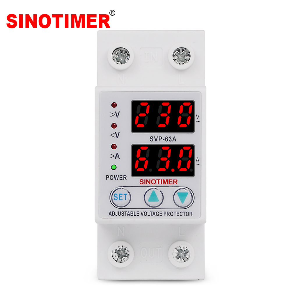220VAC 63A Smart Automatic Self-connectiong Over/Under Voltage Protection Relay Protector With Current Overload Protection