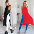 Two Side Split Shirt High Slit Maxi Long Dress Fashion Cotton Casual Sleeveless Summer Beach T Tee Tshirt  Sexy Chiffon Sundress