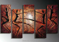 High Quality Red Women Dancing Knife Oil Painting On Canvas 5pcs Home Wall Art Set Decoration Modern Picture For Living Room