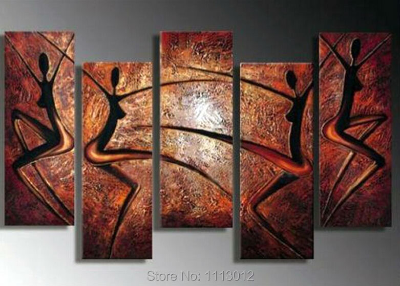 High Quality <font><b>Red</b></font> Women Dancing Knife Oil Painting On Canvas 5pcs Home Wall Art Set Decoration Modern Picture For Living <font><b>Room</b></font>