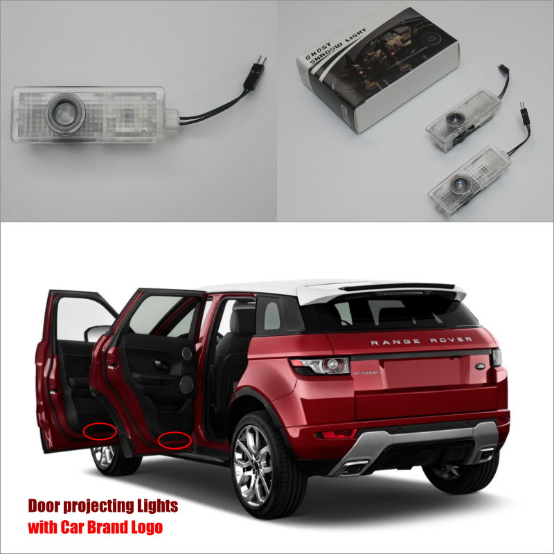 Car Door Ghost Shadow Lights For Land Rover Evoque 2013 Top Rank Courtesy Doors Lamp / Brand Logo LED Projector Welcome Light