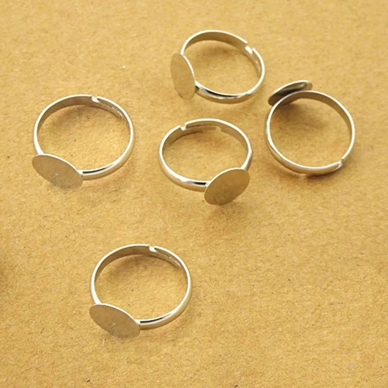 40 Pcs Hollow Flower Adjustable Flat Pad Ring Bases DIY Blank Findings 18mm