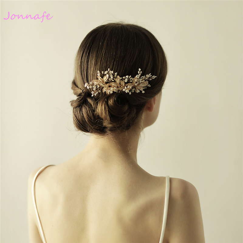 Jonnafe Tiny Beaded Blossoms Hair Comb Gold Bridal Headpiece Wedding Leaf Hair Combs Accessories Women Crown jonnafe handmade red flower wedding prom hair clip jewelry gold leaf bridal hair accessories comb headpiece