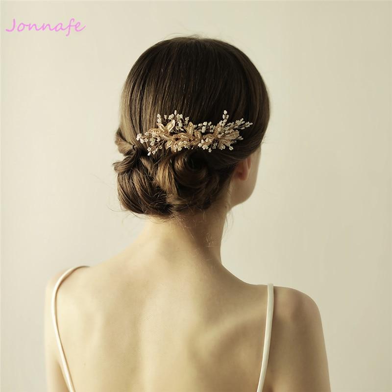 все цены на Jonnafe Tiny Beaded Blossoms Hair Comb Gold Bridal Headpiece Wedding Leaf Hair Combs Accessories Women Crown