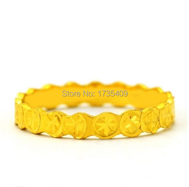 2.5G Solid 999 24K Yellow Gold / Excellent Coin Design Ring Size 5.5 - 2