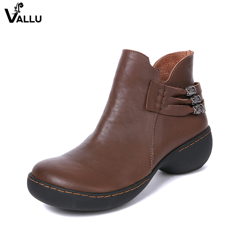 VALLU New Arrival Women' s Boots 2018 Genuine Leather Chunky Heel Shoes Lady Metal Decoration Side Zipper Female Ankle Booties women mid calf boots shoes new arrival vallu vintage shoes lace up original leather female chunky heel boots