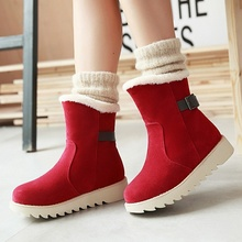 Winter Newest Warm Women Snow Boots Yellow Red Beige Black Suede Booties Shoes Korean Style Discount Hot Sale Female Footwear