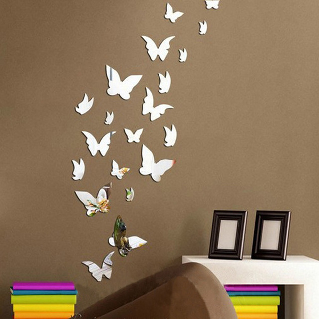 diy office decor. new 14pcslot mirror sliver 3d butterfly wall stickers party wedding decor diy home office diy