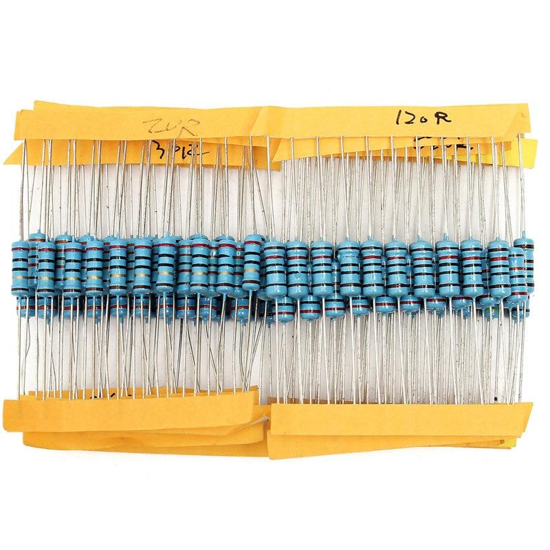 Metal Film Resistor Assortment Kit m 1 Watt 500Pcs 50 values  1/% 1ohm~1M 1W