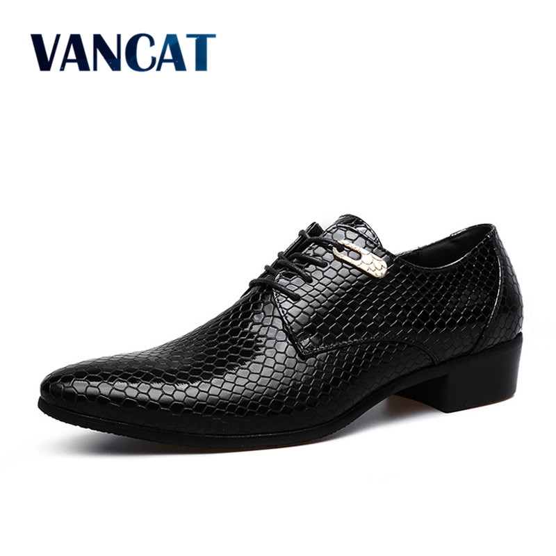 VANCAT Brand Snake Leather Men Oxford Shoes Lace Up Casual Business Men Pointed Shoes Brand Men Wedding Men Dress Boat Shoes npezkgc brand high quality men oxford men leather dress shoes fashion business men shoes men dress pointed shoes wedding shoes
