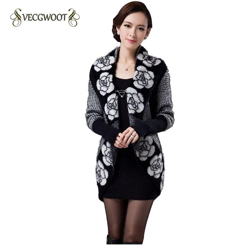 2019 Spring Autumn Women Korean Fashion Flower Mohair Knit Shawl Cardigan Sweater Jacket Medium Long Sweaters Loose WLX571
