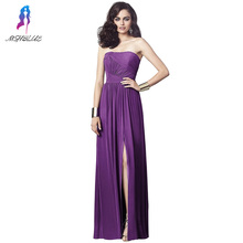 Long Purple Chiffion Bridesmaid Dresses Off the Shoulder Zipper Back Women Maxi Dress For Weddings