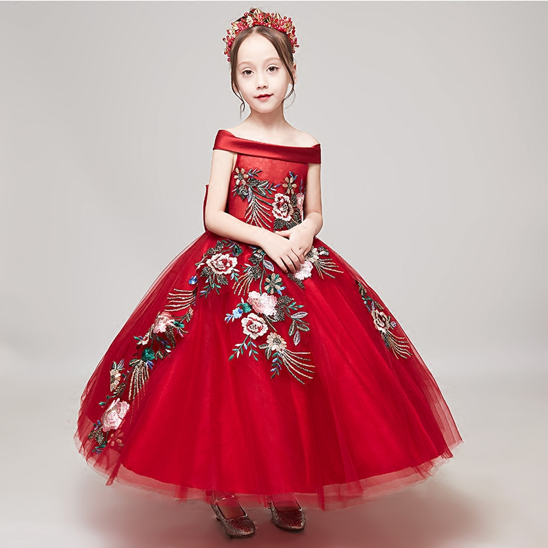 Red Flower Girls Dress Off Shoulder Princess Dress Children Bow Ball Gown Appliques Summer Wedding Dress Evening Party Gown A149