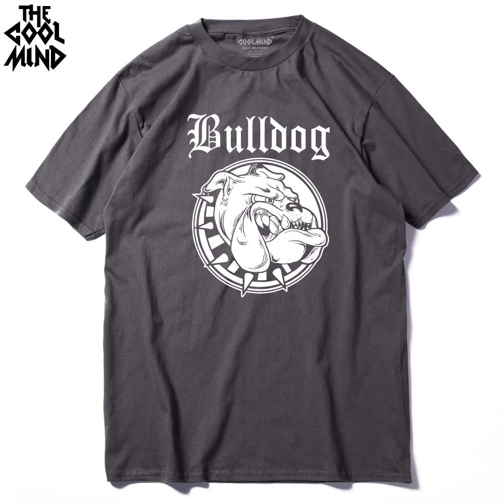 COOLMIND BU0111A 100% ALGODÓN o cuello Impresión de Bulldog de los hombres camiseta ocasional de manga corta cómoda tela de los hombres camiseta de las camisetas camiseta