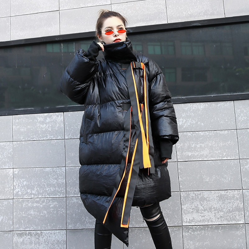 Pour Veste Le Vers Manches green Longues Coats D'hiver Femmes Vêtements Rubans Black silver Irrégulière Coats Coats Zipper Chicever Vestes Femme Bas Nouveau Mode Col Manteaux À CIwx5XEq