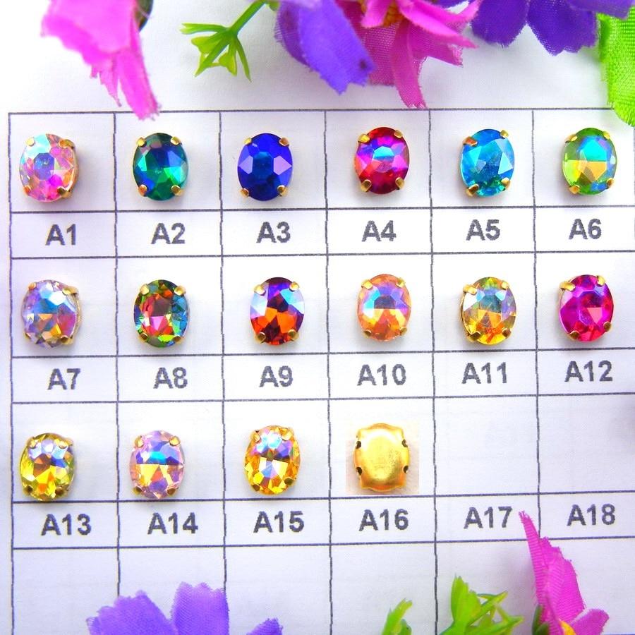 ΑΒ χρώματα Χρυσό νύχι ρυθμίσεις 7 Μεγέθη Οβάλ σχήμα Ράψτε το γυαλί Κρύσταλλο στρας χάντρες αξεσουάρ νυφικά αξεσουάρ