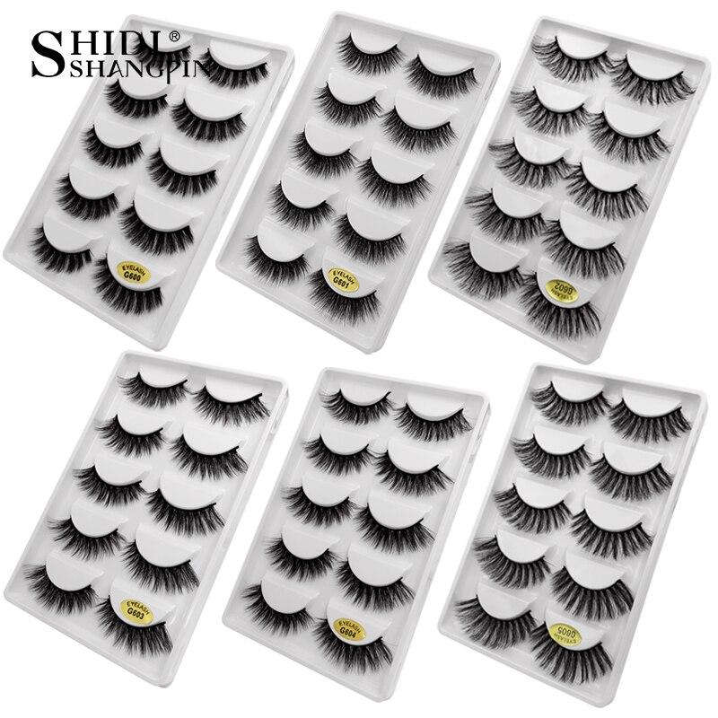 SHIDISHANGPIN 100 boxes wholesale false eyelashes natural long mink lashes 3d volume fake eyelashes hand made