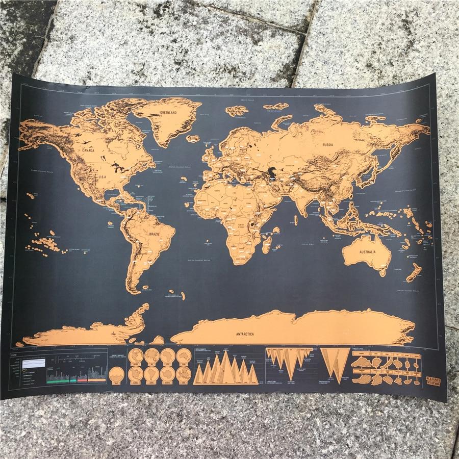 Vintage plakāts Personas nulles pasaules karte retro Kraft papīra - Mājas dekors