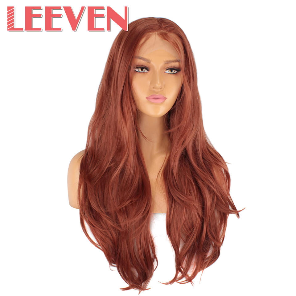 Leeven 24''  Fashion Pink Orange Purple Lace Front Wig Long Natural Wavy Synthetic Lace Front Wigs For Women 613 Blonde Wigs