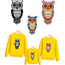 cute owl iron patches for clothing family cartoon stickers diy patch iron on transfer for t-shirt parches termoadhesivos ropa langsidi светло коричневый iphone 7plus