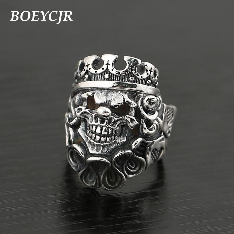 BOEYCJR S925 argent Sterling rétro Punk Sull anneaux bijoux fins Vintage réglable Rock anneaux pour hommes cadeau anillo anneau