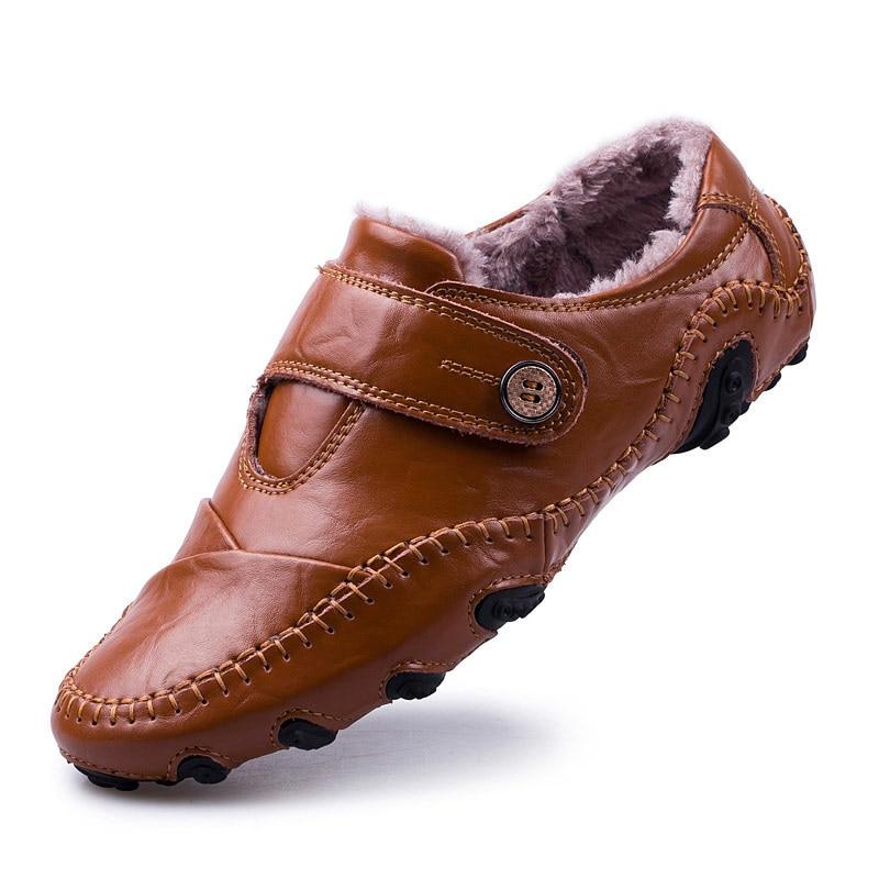 4b3c8816 Comprar Zapatos casuales de marca para hombre mocasines de estilo británico  zapatos de cuero genuino hombres planos mocasines de piel de invierno  hombres ...