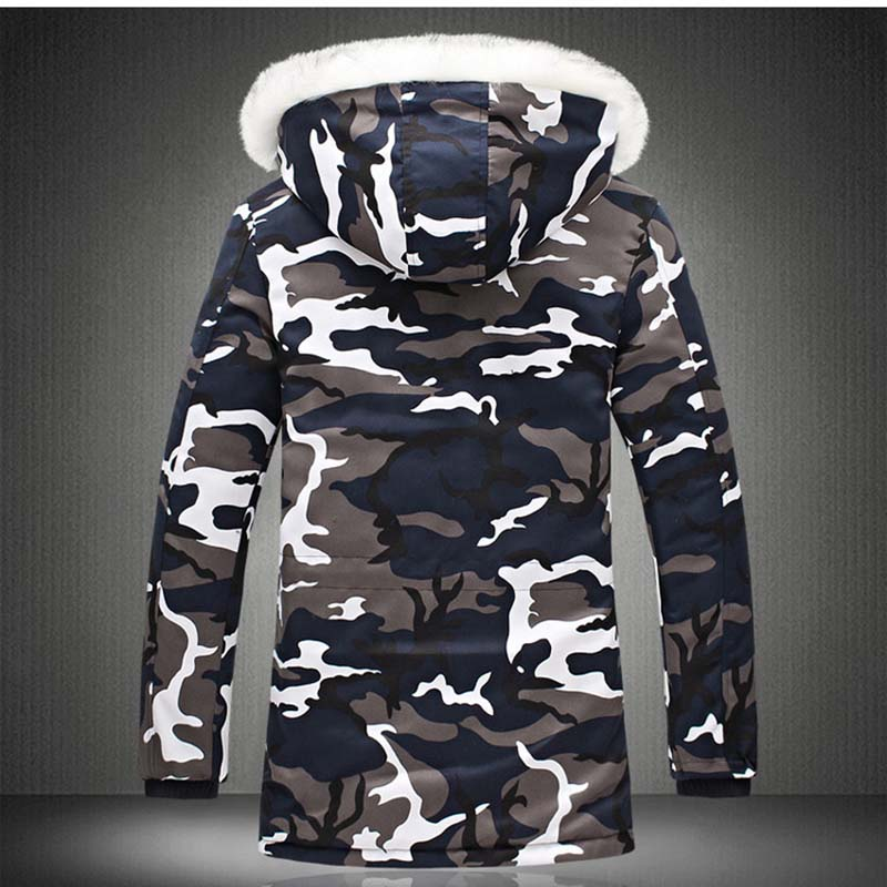 New Winter Men\`s Camouflage Jacket and Coats With Fur Hood Warm Thick Parka Fashion Designer Male Outwear Coats (16)