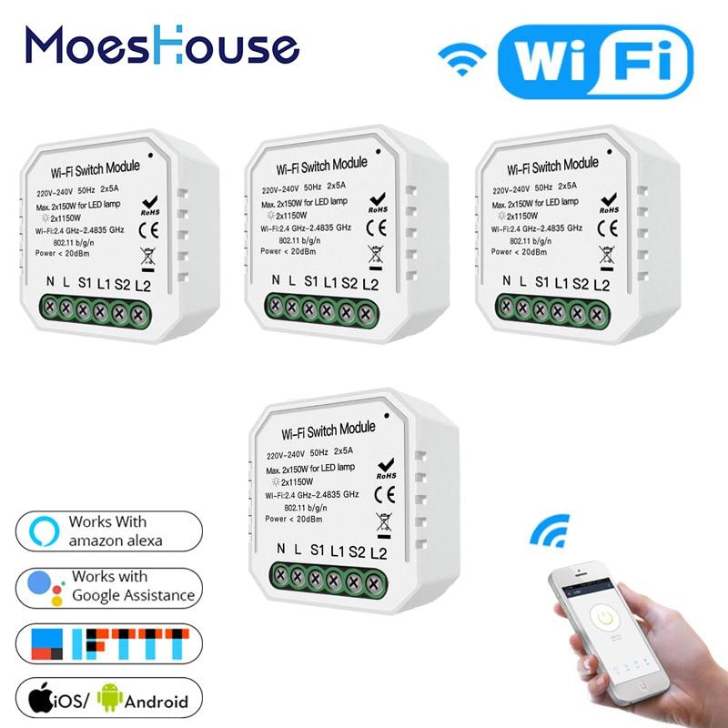 2 Gang 2 voies WiFi Smart interrupteur de lumière caché bricolage Module vie intelligente/Tuya APP télécommande fonctionne avec Alexa Echo Google accueil