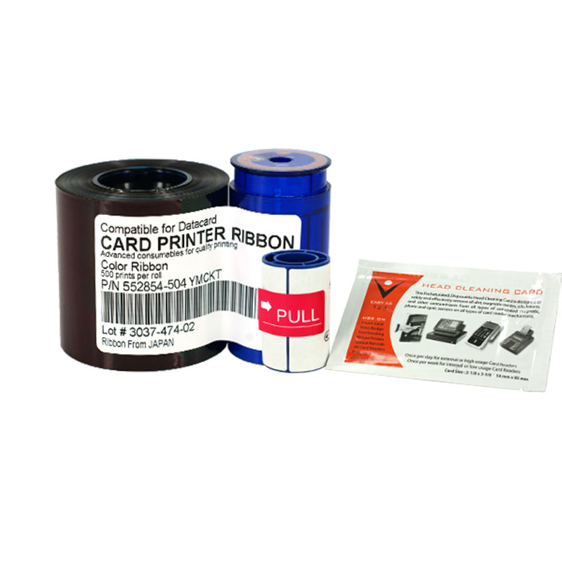 Printer Ribbon 552854-504 YMCKT Ribbon 500prints/roll With Cleaning Wheel&Cleaning Card For Datacard SP35 SP55 SP75 500prints roll uv fluorescent thermal transfer ribbon for zebra id card printer p310 p330i p430i