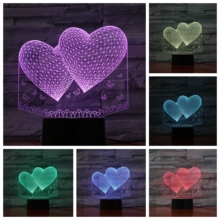 Love double hearts 3D LED Lamp bedside gece lambasi Lampara RGB Girl Child Kids Baby Birthday Gifts USB Night Light