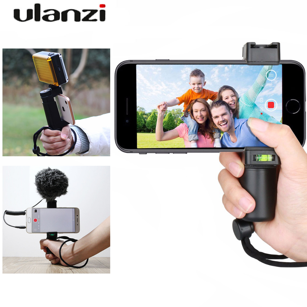 Ulanzi F-Mount Smartphone Holder Selfie Stick handle with cold shoe for i phone portable mini monopod for live stream vlogging