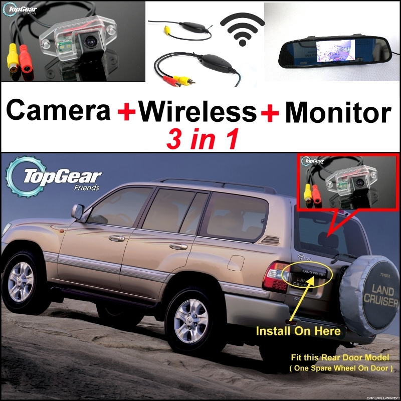 3 in1 Special Camera + Wireless Receiver + Mirror Monitor DIY Parking System For TOYOTA Land Cruiser LC 100 LC100 J100 1998~2007 wireless pager system 433 92mhz wireless restaurant table buzzer with monitor and watch receiver 3 display 42 call button