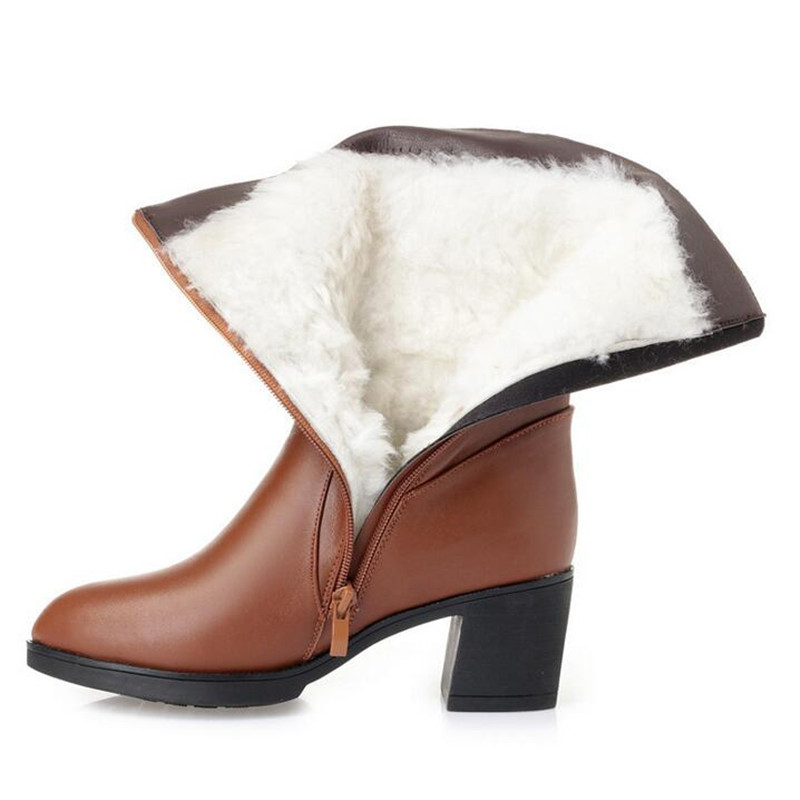 ZXRYXGS brand boots Warm Wool Women Shoes Winter Boots 2019 New Genuine Leather Shoes Woman High