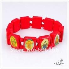 120pcs Catholic Wooden Religious Bracelet Red Wood Holy Icon Jesus Bracelets Rosary Bracelet Religious Jewelry