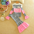 New Autumn Winter Women New Clothing Suits Striped Pattern Flare Sleeve Sweater Tops Long Mermaid Skirt 2pcs Knitted Sets 1182