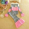 Nuevo otoño invierno de las nuevas mujeres ropa trajes a rayas patrón flare tops suéter de manga larga falda sirena 2 unids conjuntos de punto 1182