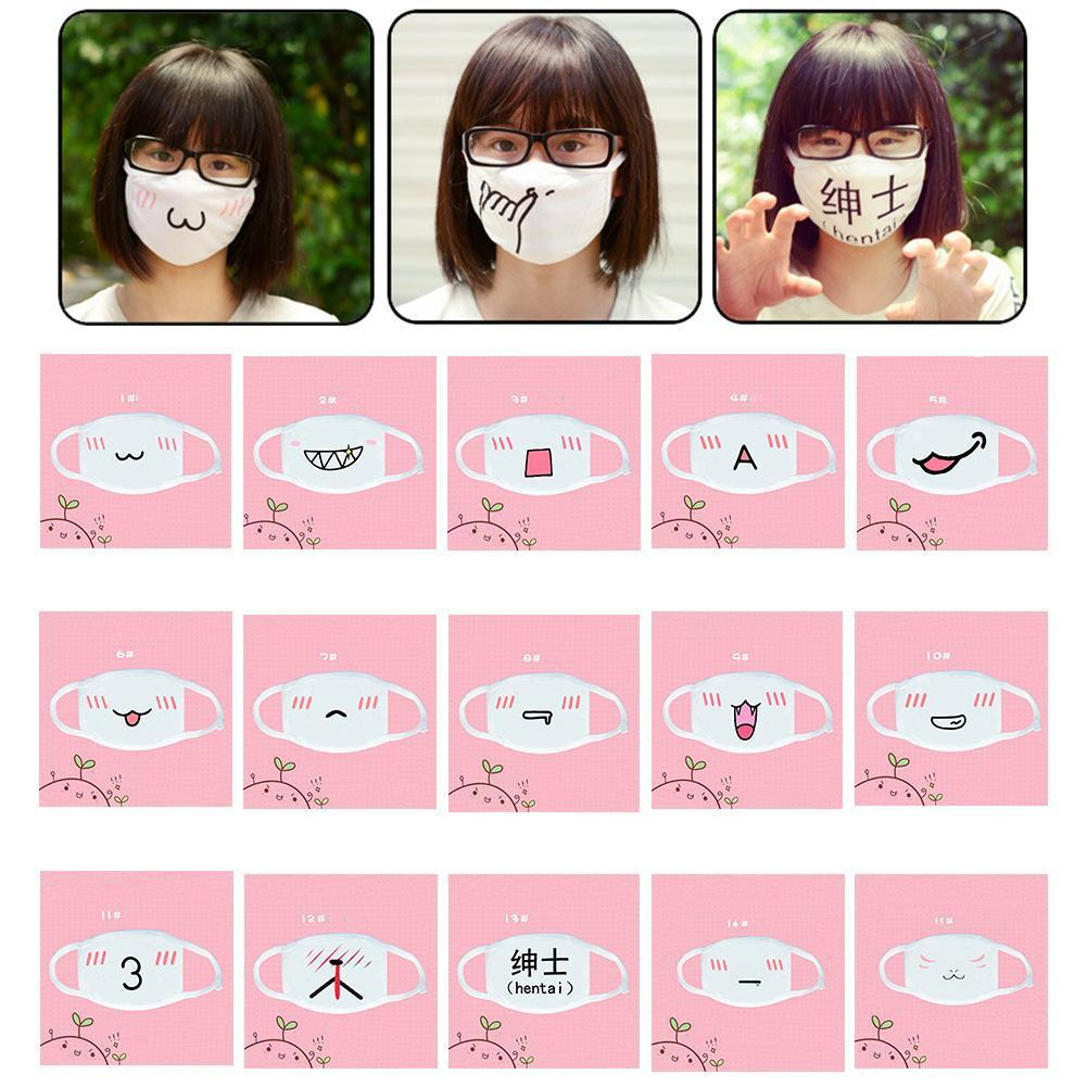 1PC 15Styles Cute Anime Emotiction Half Face Mask&Winter Cotton Funny Dust Face Mask For Masquerade/Christmas/Cosplay Sup