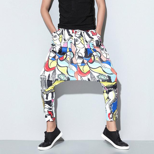 321 verão nova onda de homens pés Magros harem pants calça casual calças soltas colapso personalizado moda impressão masculinos calças