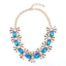 2016 Moda Azul Gema Blanca Collar Colgante Declaración Collar ZA Mujeres Decorativo Maxi Boho Gargantilla Collier Femme Bijoux Joyería