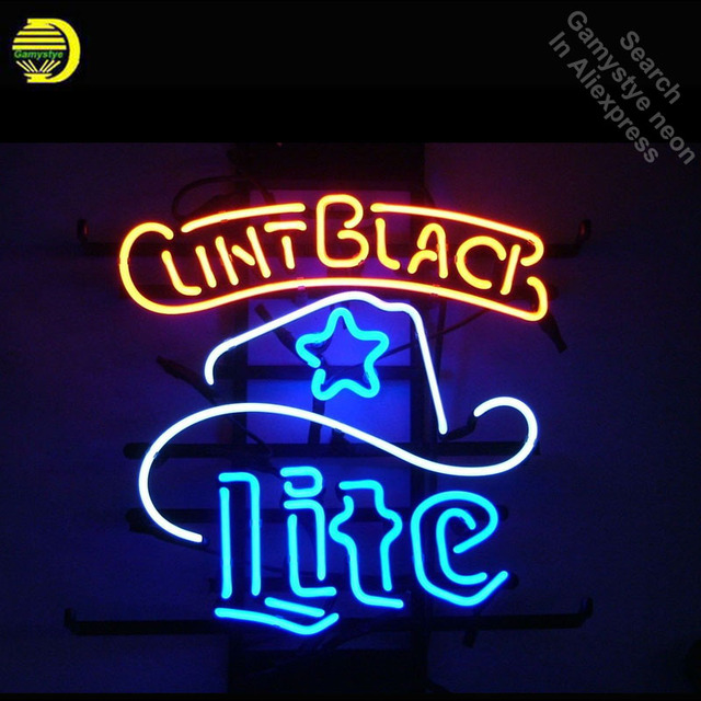Neon Sign for Miller Lite Clint Hat Neon Tube Sign Commercial Light handcraft Publicidad Lamps Store Displays neon light sign