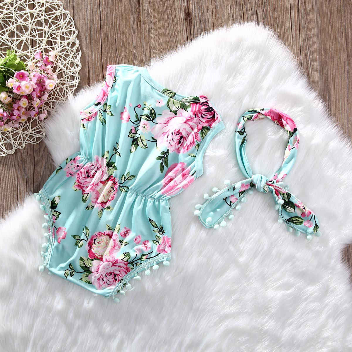 Одежда для новорожденных и маленьких девочек, Цветочный комбинезон без рукавов комбинезон купальник комплект одежды одежда на возраст от 0 до 24 месяцев