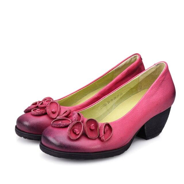 2017 Цветов Натуральной Кожи женщины насосы каблуки клинья обувь для женщин Женские Китайский Бренд Мягкая Осень Ручной Работы офиса Обувь
