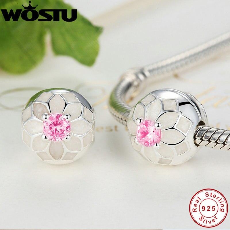 Prix pour Réel 100% 925 Sterling Argent Blooming Dahlia Clip Charm Perles Fit Pandora Bracelet Original Authentique De Luxe DIY Bijoux